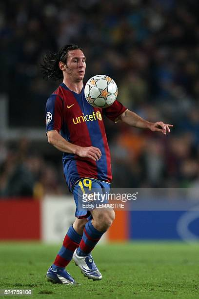 Lionel Messi during the champions league soccer match between FC Barcelona and Olympique Lyonnais | Location Barcelona Spain
