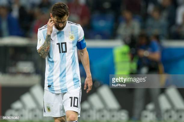 Lionel Messi during the Russia 2018 World Cup Group D football match between Argentina and Croatia at the Nizhny Novgorod Stadium in Nizhny Novgorod...