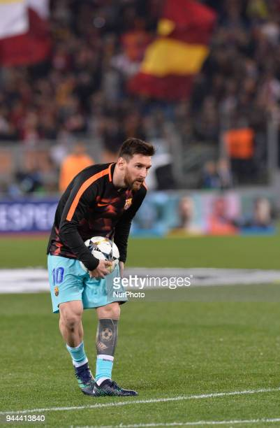 Lionel Messi during the UEFA Champions League quarter final match between AS Roma and FC Barcelona at the Olympic stadium on April 10 2018 in Rome...