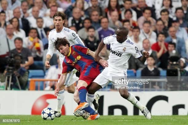 Lionel Messi et Lassana Diarra - - Real Madrid / Barcelone - 1/2 finale aller de Ligue des Champions -Madrid-StadeSantiago Bernabeu-,