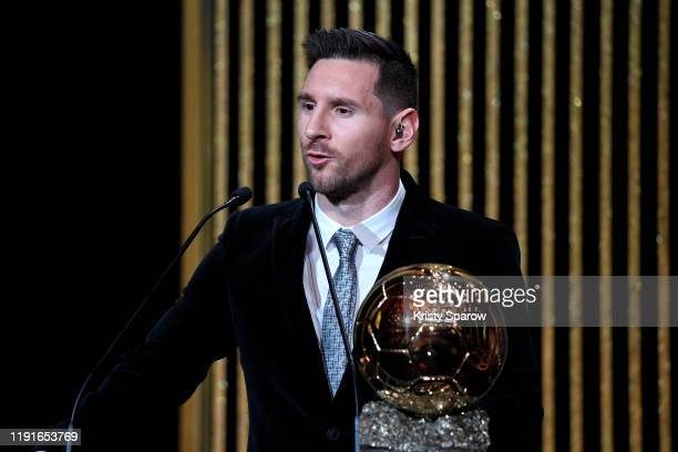 Lionel Messi excepts his sixth Ballon D'Or award during the Ballon D'Or Ceremony at Theatre Du Chatelet on December 02 2019 in Paris France