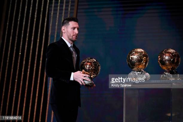 Lionel Messi excepts his sixth Ballon D'Or award during the Ballon D'Or Ceremony at Theatre Du Chatelet on December 02, 2019 in Paris, France.