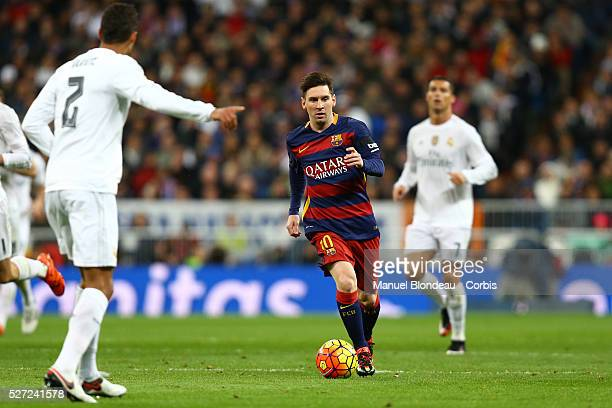 Lionel Messi FC Barcelona during the Spanish Championship Liga football match between Real Madrid CF and FC Barcelona on November 21 2015 at Santiago...