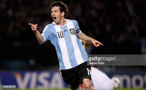 Lionel Messi from Argentina celebrates a goal during a match between Argentina and Ecuador as part of the fifth round of the South American...