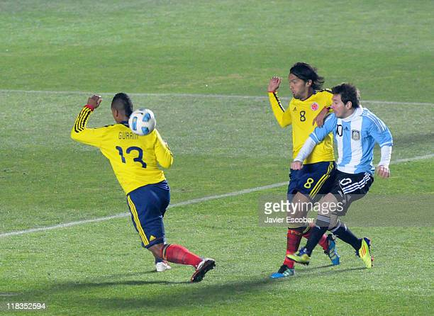 Lionel Messi from Argentina kicks the ball during a match between Argentina and Colombia as part of the group A of the Copa America 2011 at Brigadier...