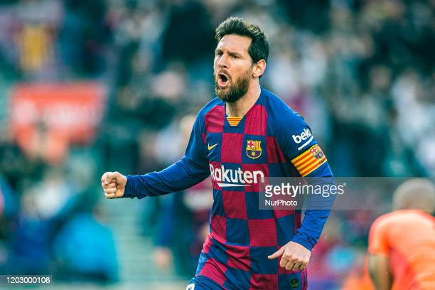 10 Lionel Messi from Argentina of FC Barcelona celebrating a goal during La Liga Santander match between FC Barcelona and SD Eibar at Camp Nou...