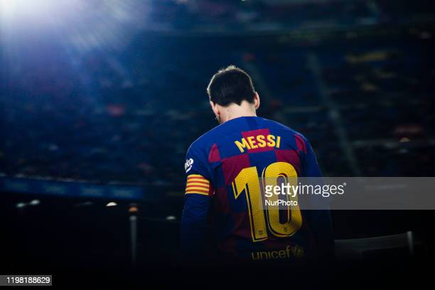 10 Lionel Messi from Argentina of FC Barcelona during the La Liga match between FC Barcelona and Levante UD at Camp Nou on February 02 2020 in...