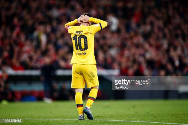 Lionel Messi from Argentina of FC Barcelona lamenting the defeat during the Spanish King Cup match between Athletic Club de Bilbao and FC Barcelona...