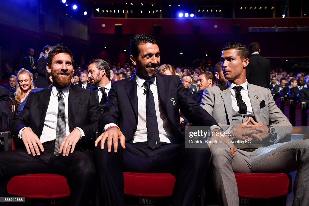 Lionel Messi, Gianluigi Buffon and Cristiano Ronaldo during the UEFA Champions League 2017/18 Draw on August 24, 2017 in Monaco, Monaco.
