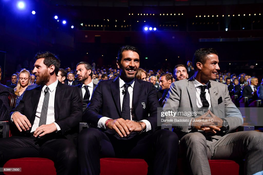 Lionel Messi , Gianluigi Buffon and Cristiano Ronaldo during the UEFA Champions League 2017/18 Draw on August 24, 2017 in Monaco, Monaco.