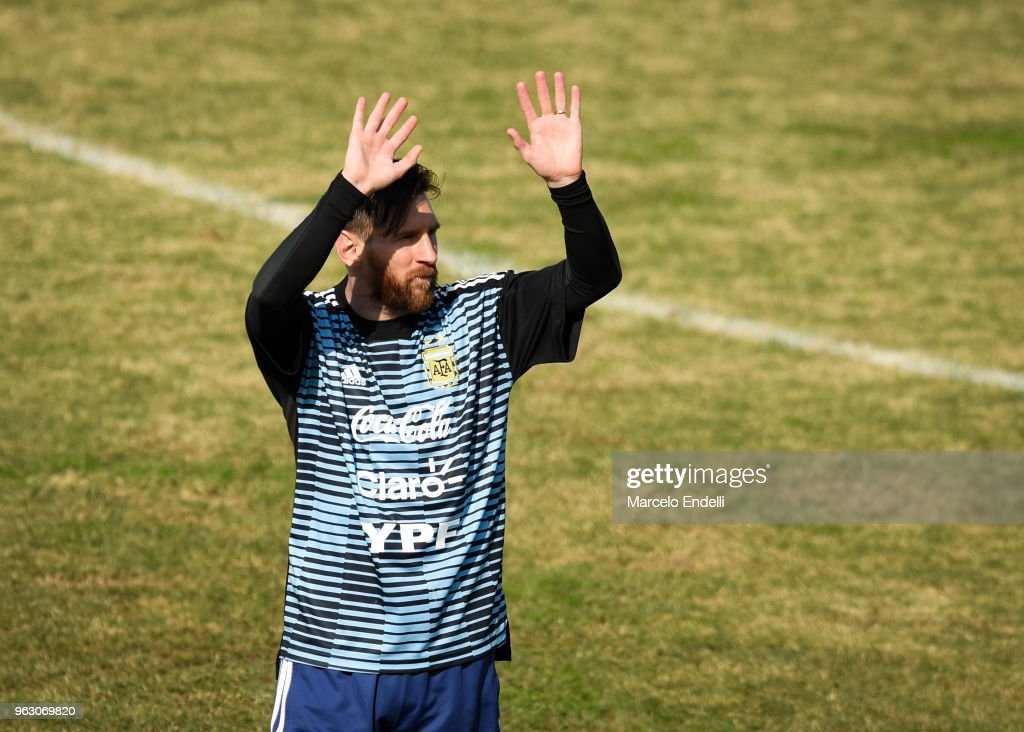 Lionel Messi greets fans during a training session open to the public as part of the team preparation for FIFA World Cup Russia 2018 at Tomas Adolfo Duco Stadium on May 27, 2018 in Buenos Aires, Argentina.