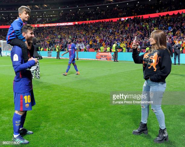 Lionel Messi his wife Antonella Roccuzzo and his son Thiago Messi are seen at the Spanish Copa del Rey Final match between Barcelona and Sevilla at...