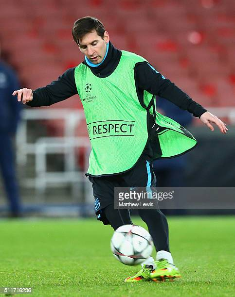 Lionel Messi in action during a FC Barcelona training session ahead of their UEFA Champions League round of 16 first leg match against Arsenal at the...