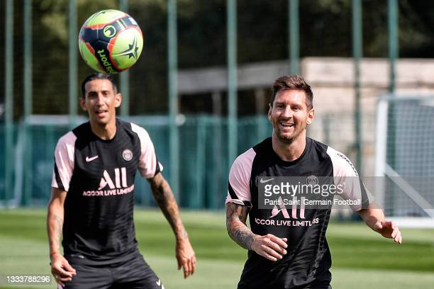 Lionel Messi in action during a Paris-Germain training session at Ooredoo Center on August 12, 2021 in Paris, France.
