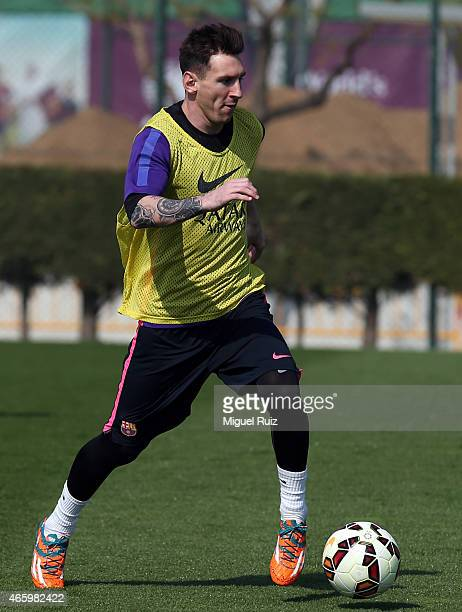 Lionel Messi in action during the FC Barcelona training session at Ciutat Esportiva on March 12 2015 in Barcelona Spain