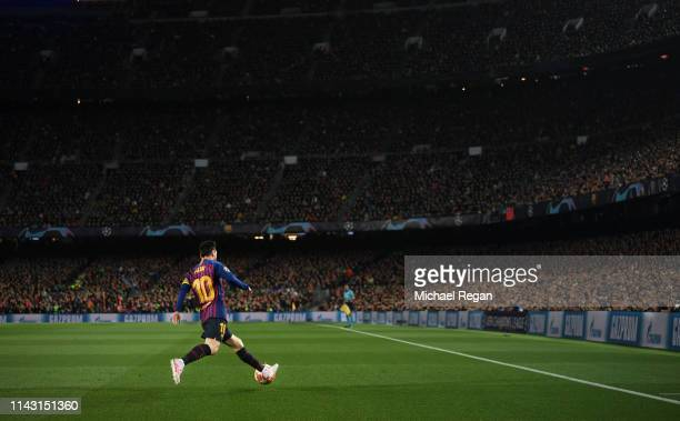 Lionel Messi in action during the UEFA Champions League Quarter Final second leg match between FC Barcelona and Manchester United at Camp Nou on...