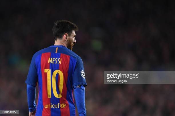 Lionel Messi in action during the UEFA Champions League Round of 16 second leg match between FC Barcelona and Paris Saint-Germain at Camp Nou on...