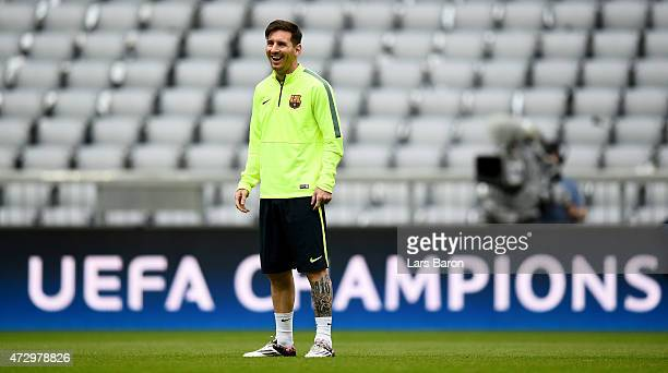Lionel Messi is seen during a FC Barcelona training session on the eve of the UEFA Champions League semi final second leg match against FC Barcelona...