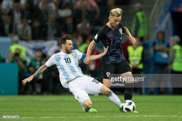 Lionel Messi Ivan Rakitic during the Russia 2018 World Cup Group D football match between Argentina and Croatia at the Nizhny Novgorod Stadium in...