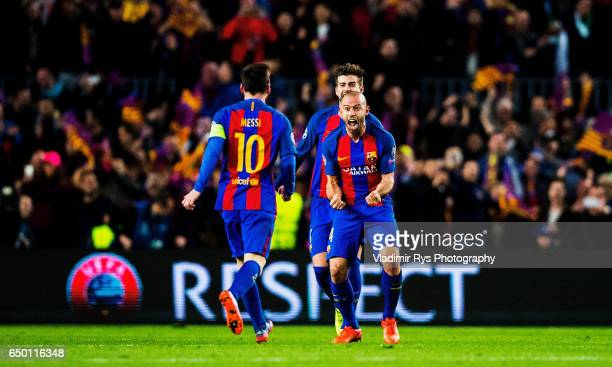 Lionel Messi, Javier Mascherano and Gerard Pique of Barcelona celebrate after winning 6-1 the UEFA Champions League Round of 16 second leg match...