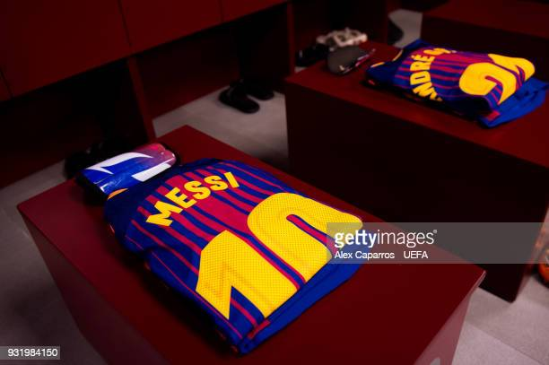 Lionel Messi kit is ready in the FC Barcelona dressing room before the UEFA Champions League Round of 16 Second Leg match between FC Barcelona and...