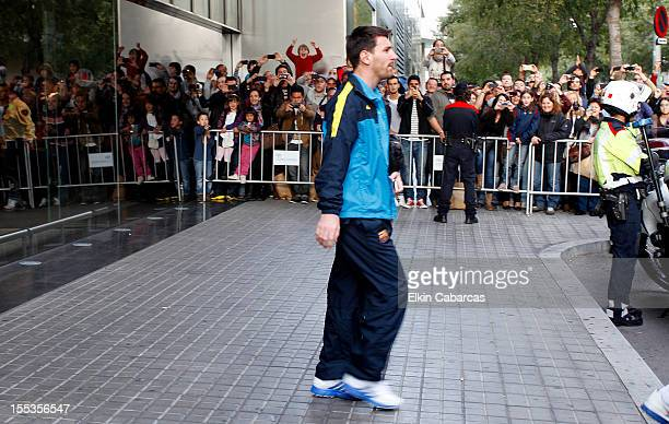 Lionel Messi leaves the NH Constanza Hotel, after concentrating with his peers on November 03, 2012 in Barcelona, Spain.