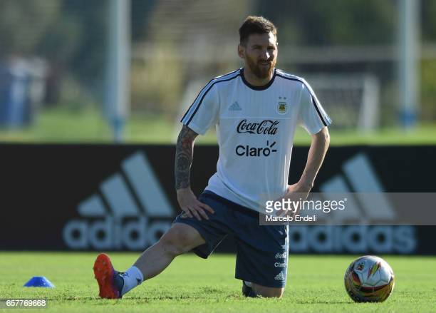 Lionel Messi looks on during a training session at Argentine Football Association 'Julio Humberto Grondona' training camp on March 25 2017 in Buenos...