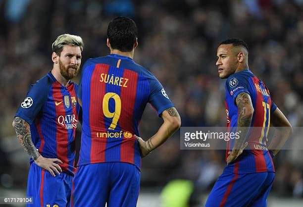 Lionel Messi Luis Suarez and Neymar Jr of FC Barcelona during the UEFA Champions League Group C match between FC Barcelona and Manchester City FC at...