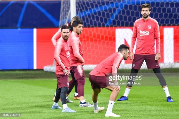 Lionel Messi Luis Suarez Gerard Pique of FC Barcelona during a FC Barcelona press conference and training session at San Siro Stadium on November 5...