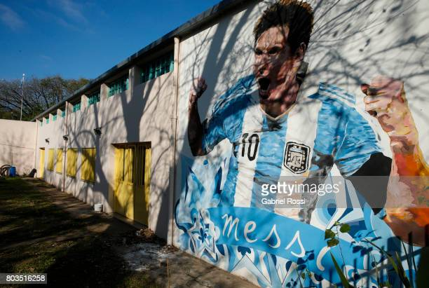 Lionel Messi mural is seen at General Las Heras School where Messi attended Elementary School ahead of Lionel Messi and Antonela Rocuzzo's Wedding on...