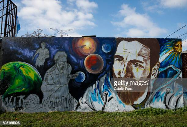 Lionel Messi mural is seen in the surroundings of his childhood home ahead of Lionel Messi and Antonela Rocuzzo's Wedding on June 29 2017 in Rosario...