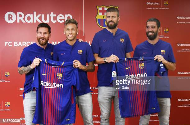 Lionel Messi Neymar Jr Gerard Pique and Arda Turan attend the press conference for Rakuten FC Barcelona Global Partnership Launch on July 13 2017 in...