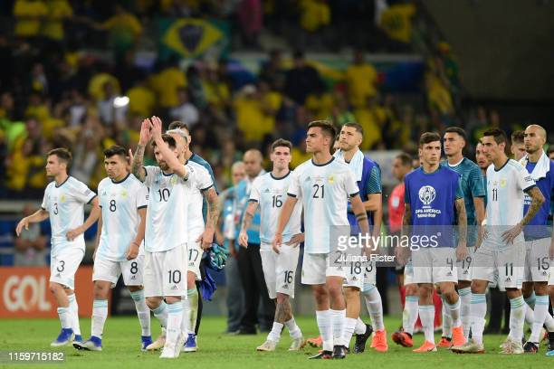 Lionel Messi of Argentina acknowledges the fans after losing the Copa America Brazil 2019 Semi Final match between Brazil and Argentina at Mineirao...