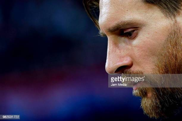 Lionel Messi of Argentina after a defeat during the 2018 FIFA World Cup Russia group D match between Argentina and Croatia at Nizhniy Novgorod...