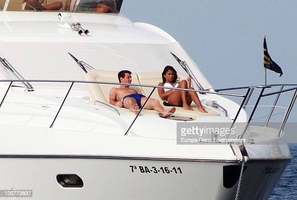 Lionel Messi of Argentina and Barcelona and his girlfriend Antonella Roccuzzo are seen on August 10 2011 in Ibiza Spain