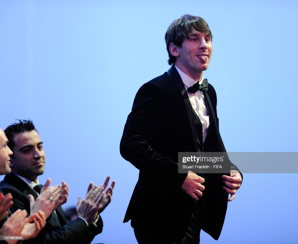 Lionel Messi of Argentina and Barcelona FC reacts as he is announced as the FIFA player of the year award during the FIFA Ballon d'Or Gala 2010 t the congress hall on January 10, 2011 in Zurich, Switzerland.