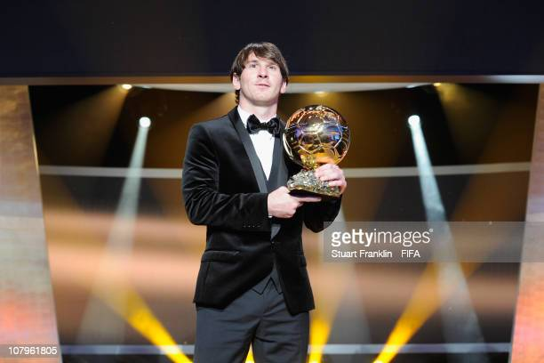 Lionel Messi of Argentina and Barcelona FC receives the FIFA player of the year award during the FIFA Ballon d'Or Gala 2010 t the congress hall on...