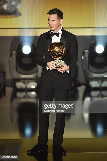 Lionel Messi of Argentina and FC Barcelona receives the Ballon d'or during the FIFA Ballon d'Or Gala 2015 at the Kongresshaus on January 11, 2016 in...
