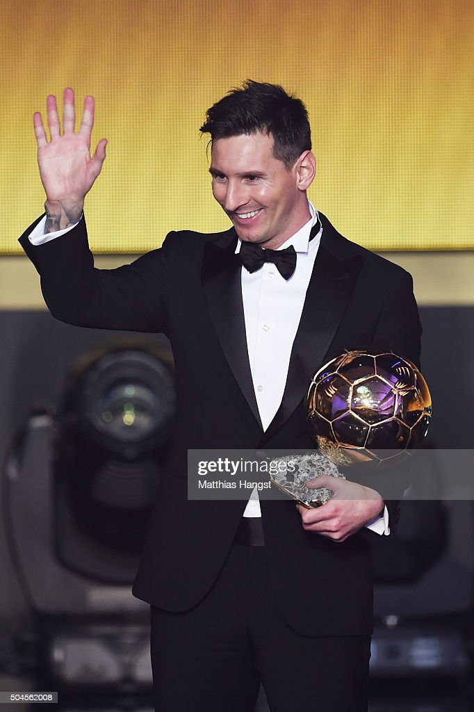 Lionel Messi of Argentina and FC Barcelona receives the Ballon d'or during the FIFA Ballon d'Or Gala 2015 at the Kongresshaus on January 11, 2016 in Zurich, Switzerland.