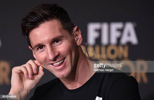 Lionel Messi of Argentina and FC Barcelona speaks to the media during a press conference prior to the FIFA Ballon d'Or Gala 2015 at the Kongresshaus...