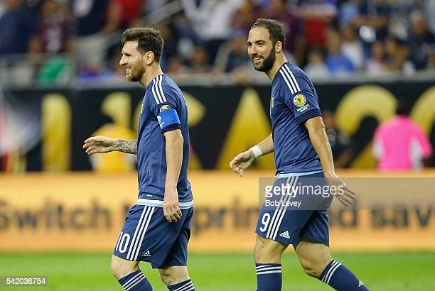 Lionel Messi of Argentina and Gonzalo Higuain react in the second half against the United States during a 2016 Copa America Centenario Semifinal...