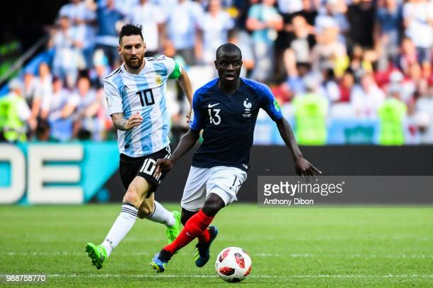 Lionel Messi of Argentina and Ngolo Kante of France during the FIFA World Cup Round of 16 match between France and Argentina at Kazan Arena on June...
