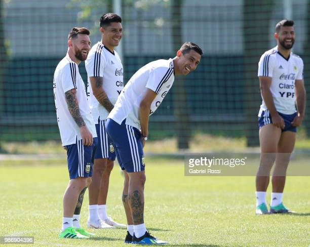 Lionel Messi of Argentina and teammates smile during a training session at Stadium of Syroyezhkin sports school on June 28 2018 in Bronnitsy Russia