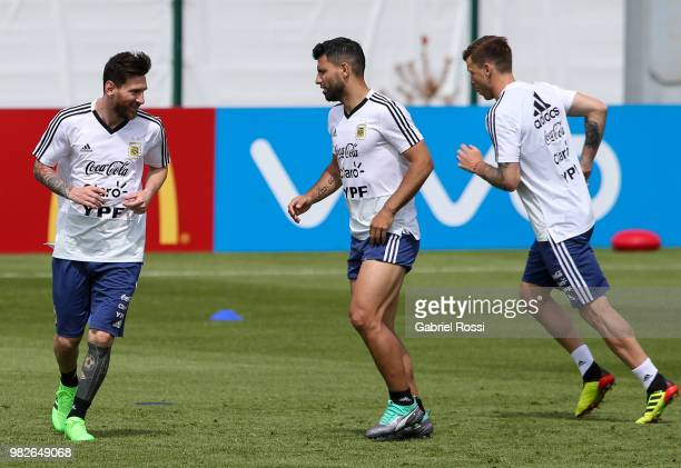 Lionel Messi of Argentina and teammates warms up during a training session at Stadium of Syroyezhkin sports school on June 24 2018 in Bronnitsy Russia
