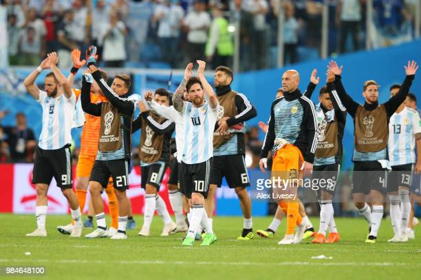 Lionel Messi of Argentina applauds the fans following the 2018 FIFA World Cup Russia group D match between Nigeria and Argentina at Saint Petersburg...