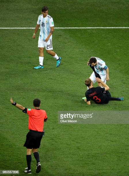 Lionel Messi of Argentina argues with Ivan Strinic of Croatia during the 2018 FIFA World Cup Russia group D match between Argentina and Croatia at...