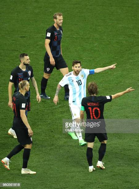 Lionel Messi of Argentina argues with Luka Modric of Croatia during the 2018 FIFA World Cup Russia group D match between Argentina and Croatia at...