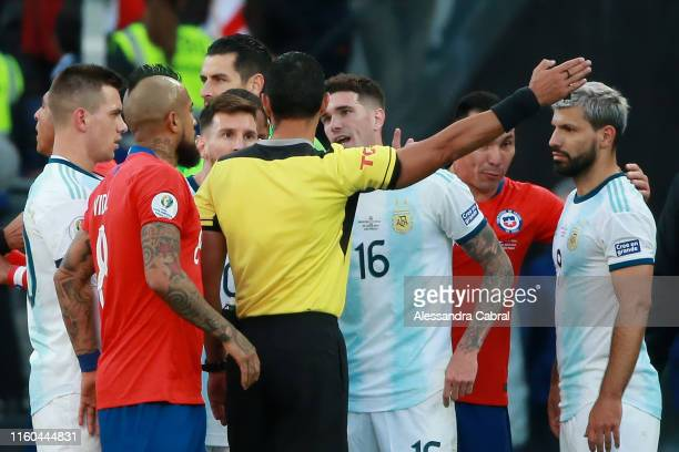 Lionel Messi of Argentina argues with Referee Mario Diaz de Vivar after being shown the red card during the Copa America Brazil 2019 Third Place...