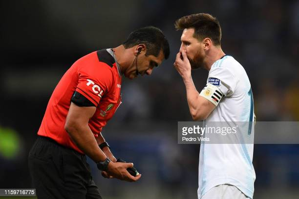 Lionel Messi of Argentina argues with referee Roddy Zambrano during the Copa America Brazil 2019 Semi Final match between Brazil and Argentina at...