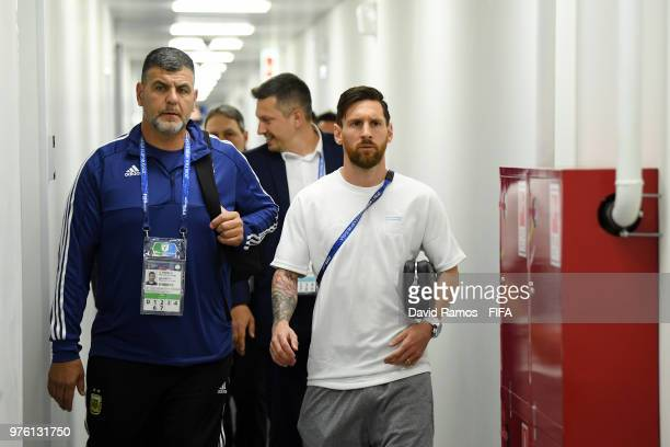 Lionel Messi of Argentina arrives at the stadium prior to the 2018 FIFA World Cup Russia group D match between Argentina and Iceland at Spartak...